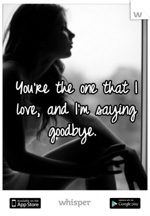 You're the one that I love, and I'm saying goodbye.