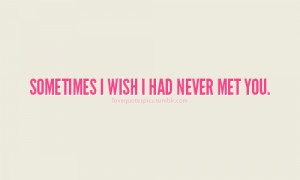 Love Quotes Pics • Sometimes I wish I had never met you.