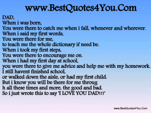 When I was Born ~ Father Quote