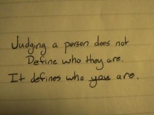 Don't be judgemental
