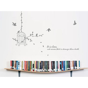 Details about Hanging Bird Cage Silhouette Quote Removable Wall ...