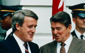 ... Canadian Prime Minister Brian Mulroney chat outside the White House