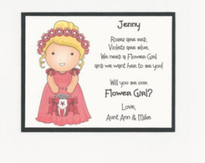 BLONDE Jenny - Will you be my Flowe r Girl Flat card - Personalized ...
