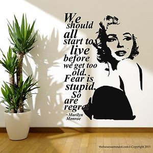 Marilyn-Monroe-Quote-Regret-Wall-Decal-Stickers-Decor-Easy-Removable ...