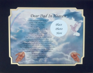 Details about DEAR DAD IN HEAVEN MEMORIAL POEM GIFT LOSS OF LOVED ONE