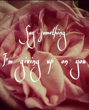 Say something I'm giving up on you I M, Amazing Quotes, Quotey Quotes ...
