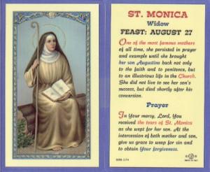 St Monica Holy Card