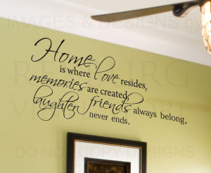 Details about Wall Decal Quote Sticker Vinyl Lettering Home is Where ...