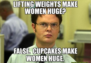 Lifting weights make women huge? False. Cupcakes make women huge ...