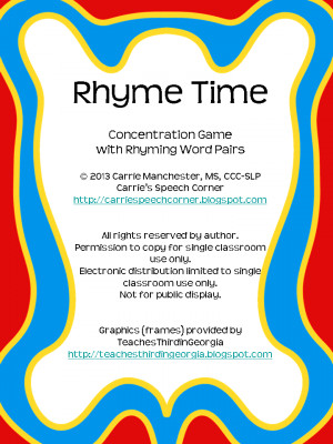 There are 16 pairs of rhyming words (32 cards total). Here's an ...