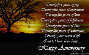 25th anniversary poems: Silver wedding anniversary poems