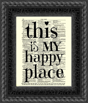 This is My Happy Place Quote Dictionary Print, Dictionary Art, Book ...