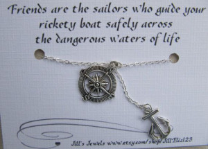 Best Friend Anchor and Compass Charm Necklace and Friendship Quote ...