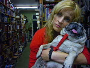 Maria Bamford and pug.