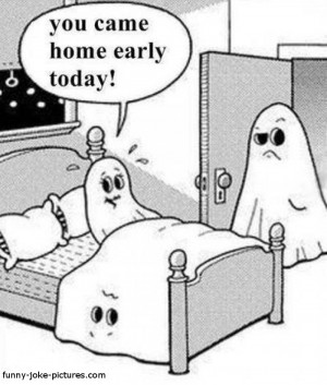 Funny Ghost Sheet Marital Affair Cartoon Picture Image Joke