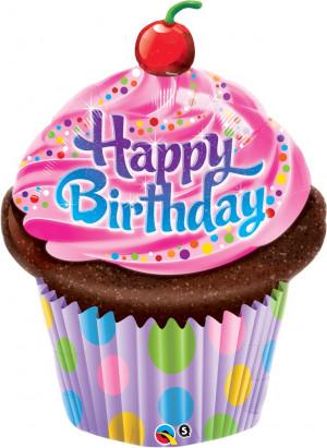 Globos Cupcake Happy Birthday 35(88cms) Metalizado Qualatex