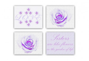 Baby Girls Nursery Art, Girls room Wall Art, Sisters Quotes Love Roses ...