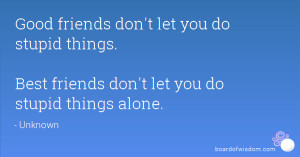 ... do stupid things. Best friends don't let you do stupid things alone