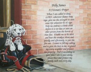 FIREMAN Firefighter PRAYER Personalized Poem GIFT Birthday Christmas ...