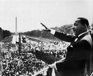 Martin Luther King, Jr. gives his