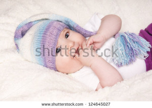 of happy smiling pretty baby in funny hat, studio shot - stock photo ...