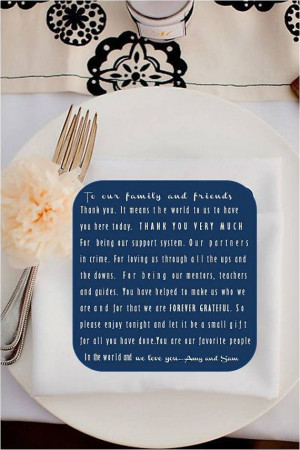 Classic Wedding - Guest Thank you Sheet for place setting - Digital ...