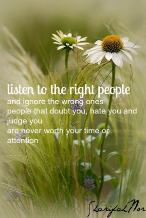 ... people and ignore the wrong ones people that doubt you hate you and