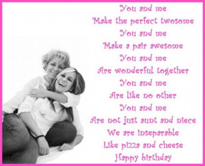 Birthday poem for a niece from her aunt.
