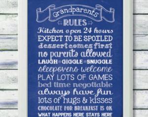 PRINTABLE QUOTE, 8x10 Art Print, Gr andparents Rules, Grandparents ...