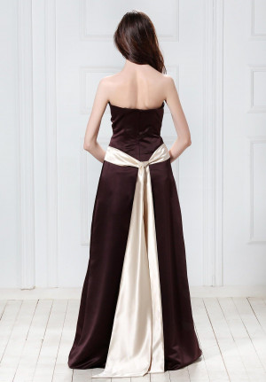 Strapless Satin Long Bridesmaid Dresses