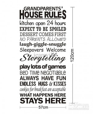 Grandparents' House Rule Wall Quote Decal Decor Sticker Lettering ...