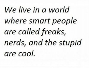... People Are Called Freaks, Nerds And The Stupid Are Cool