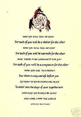 american sayings & blessings, prayers | Native American APACHE WEDDING ...
