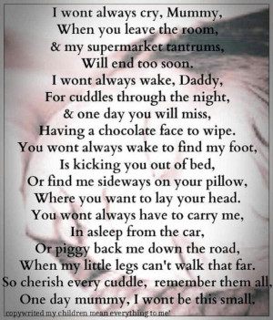 Wont Always Cry Mummy When You Leave The Room - Baby Quote