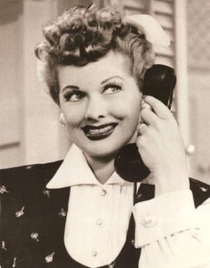 Lucille Ball as Lucy Ricardo on the phone on