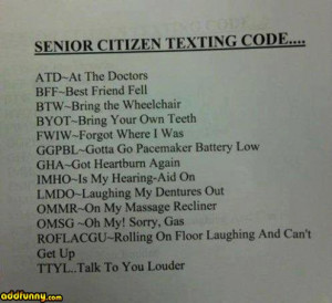 Text code for old people. random