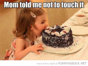 girl kid biting birthday cake mom told me not touch funny pics ...