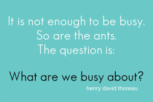 That is my question today – what are we busy about?