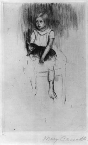 Mary Cassatt - Ellen Holding a Cat Looking Left - ca 1887.