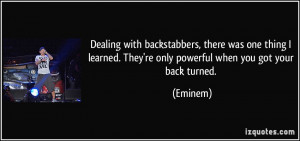 Dealing With Backstabbers...