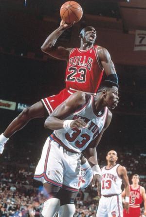 Michael Jordan about to crown Ewing, no Checkers. No Photoshop.