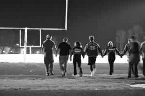 Senior night and last football game for cheerleaders and football ...