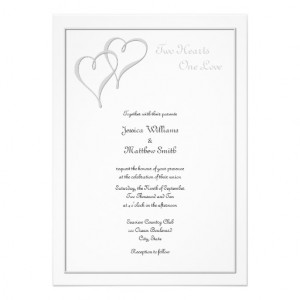 two hearts one love wedding invitations with entwined silver hearts in ...