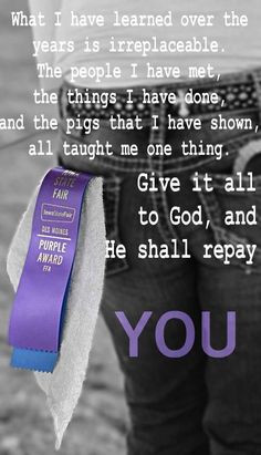 Give it all to god and he shall repay you More