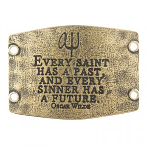 Lenny & Eva Large Sentiment with Oscar Wilde Quote - Brass
