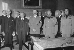 are, from left to right: British Prime Minister Neville Chamberlain ...