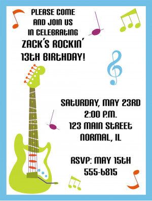 Electric Guitar, Rockstar Birthday Party Invitations
