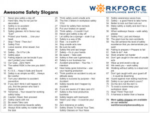 Here's a list of safety slogans for your consideration, share it ...