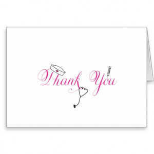 Nurse Thank You Note Hot Pink Hand Calligraphy RN Stationery Note Card