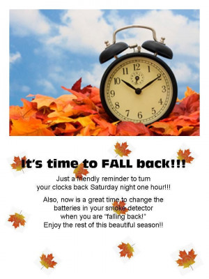 It's Time To Fall Back!!!